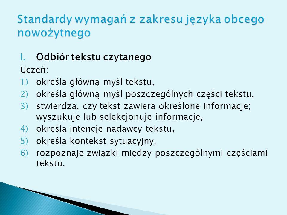 Standardy wymagań z zakresu języka obcego nowożytnego