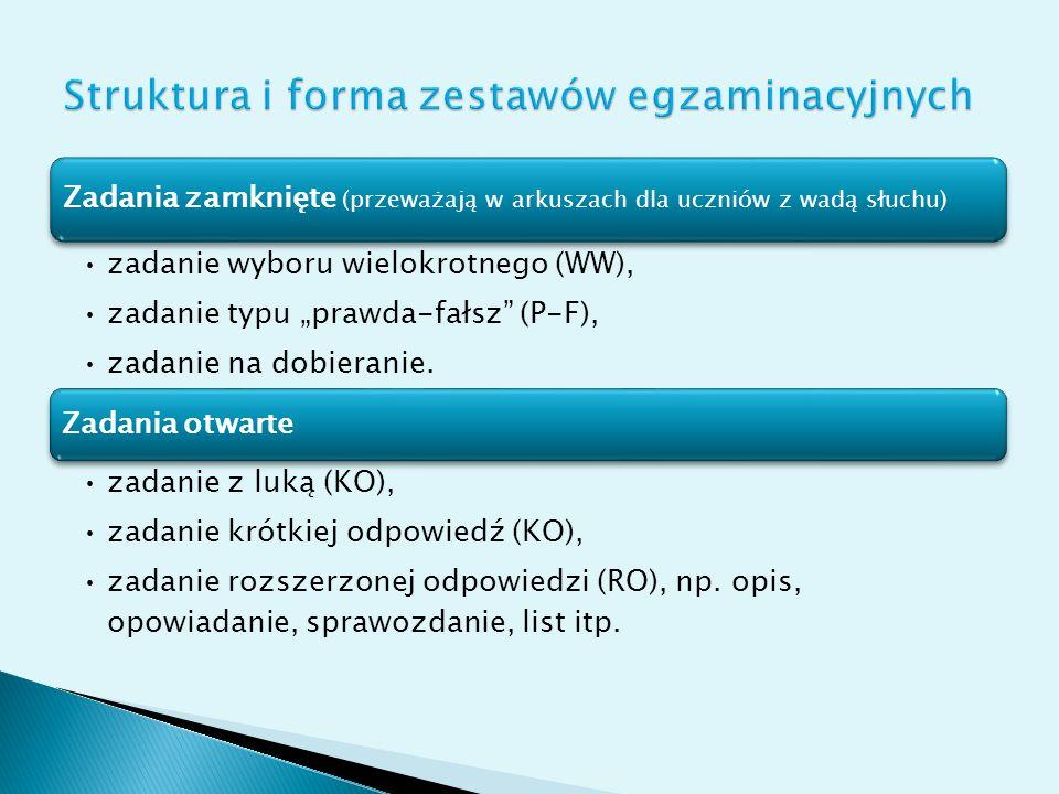Struktura i forma zestawów egzaminacyjnych