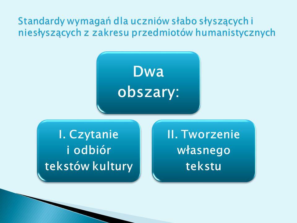 I. Czytanie i odbiór tekstów kultury II. Tworzenie własnego tekstu