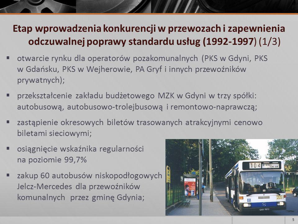 Etap wprowadzenia konkurencji w przewozach i zapewnienia odczuwalnej poprawy standardu usług (1992-1997) (1/3)