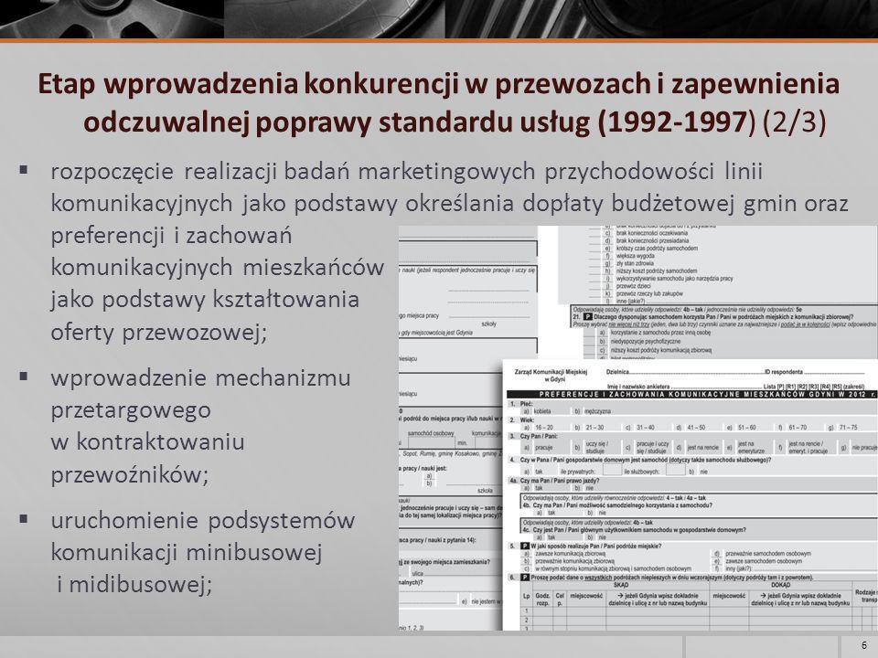 Etap wprowadzenia konkurencji w przewozach i zapewnienia odczuwalnej poprawy standardu usług (1992-1997) (2/3)