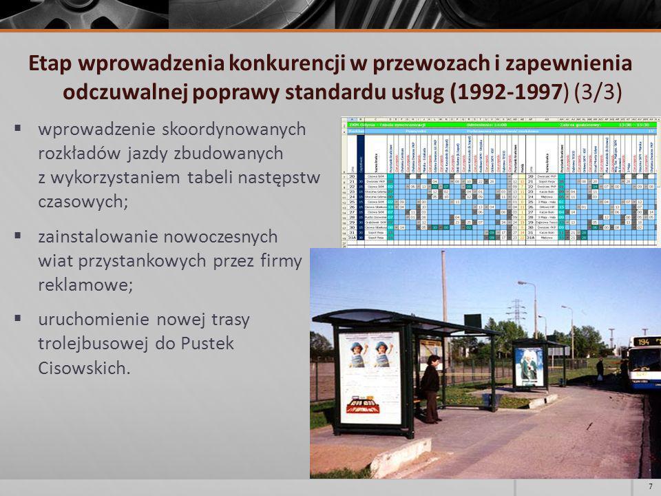 Etap wprowadzenia konkurencji w przewozach i zapewnienia odczuwalnej poprawy standardu usług (1992-1997) (3/3)
