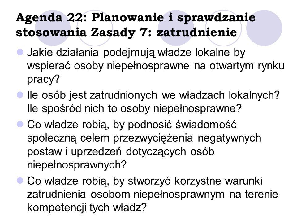 Agenda 22: Planowanie i sprawdzanie stosowania Zasady 7: zatrudnienie