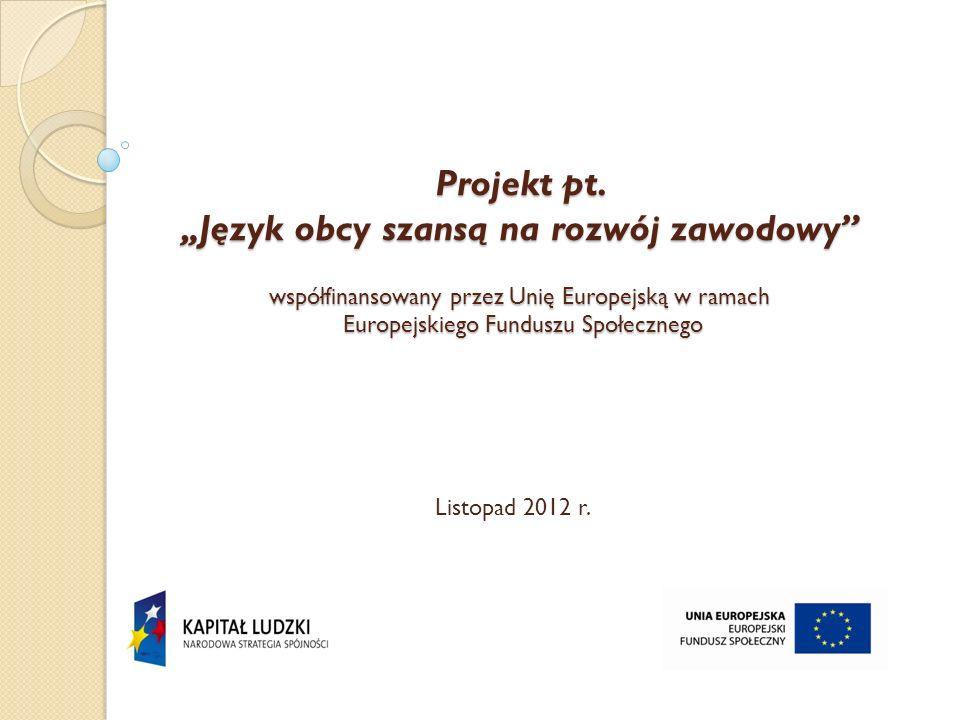 """Projekt pt. """"Język obcy szansą na rozwój zawodowy współfinansowany przez Unię Europejską w ramach Europejskiego Funduszu Społecznego"""
