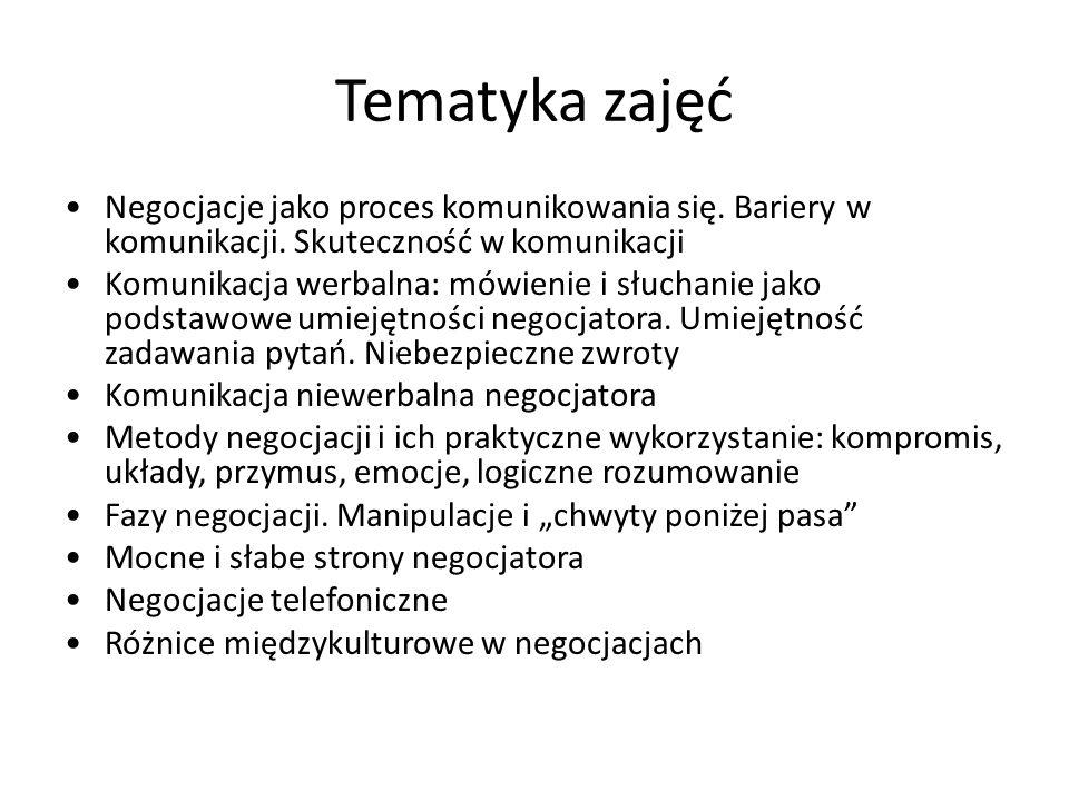Tematyka zajęć Negocjacje jako proces komunikowania się. Bariery w komunikacji. Skuteczność w komunikacji.