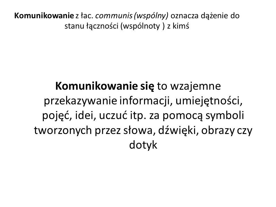 Komunikowanie z łac. communis (wspólny) oznacza dążenie do stanu łączności (wspólnoty ) z kimś