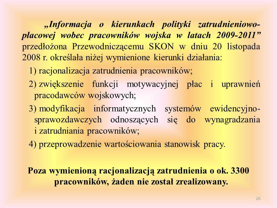 """""""Informacja o kierunkach polityki zatrudnieniowo-płacowej wobec pracowników wojska w latach 2009-2011 przedłożona Przewodniczącemu SKON w dniu 20 listopada 2008 r. określała niżej wymienione kierunki działania:"""