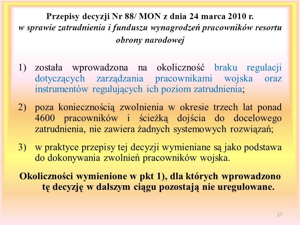 Przepisy decyzji Nr 88/ MON z dnia 24 marca 2010 r