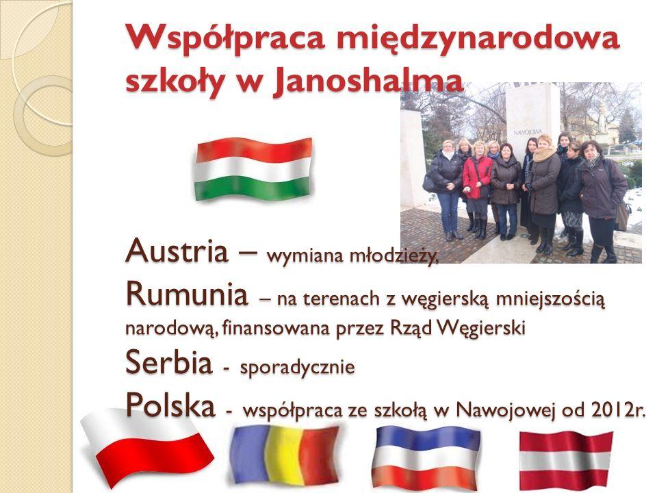 Współpraca międzynarodowa szkoły w Janoshalma Austria – wymiana młodzieży, Rumunia – na terenach z węgierską mniejszością narodową, finansowana przez Rząd Węgierski Serbia - sporadycznie Polska - współpraca ze szkołą w Nawojowej od 2012r.