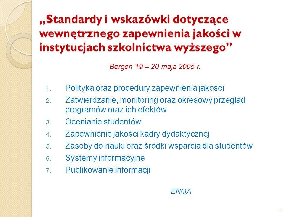"""""""Standardy i wskazówki dotyczące wewnętrznego zapewnienia jakości w instytucjach szkolnictwa wyższego"""