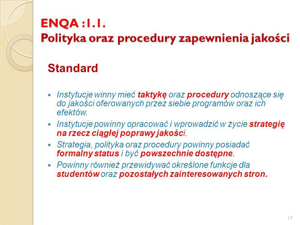 ENQA :1.1. Polityka oraz procedury zapewnienia jakości