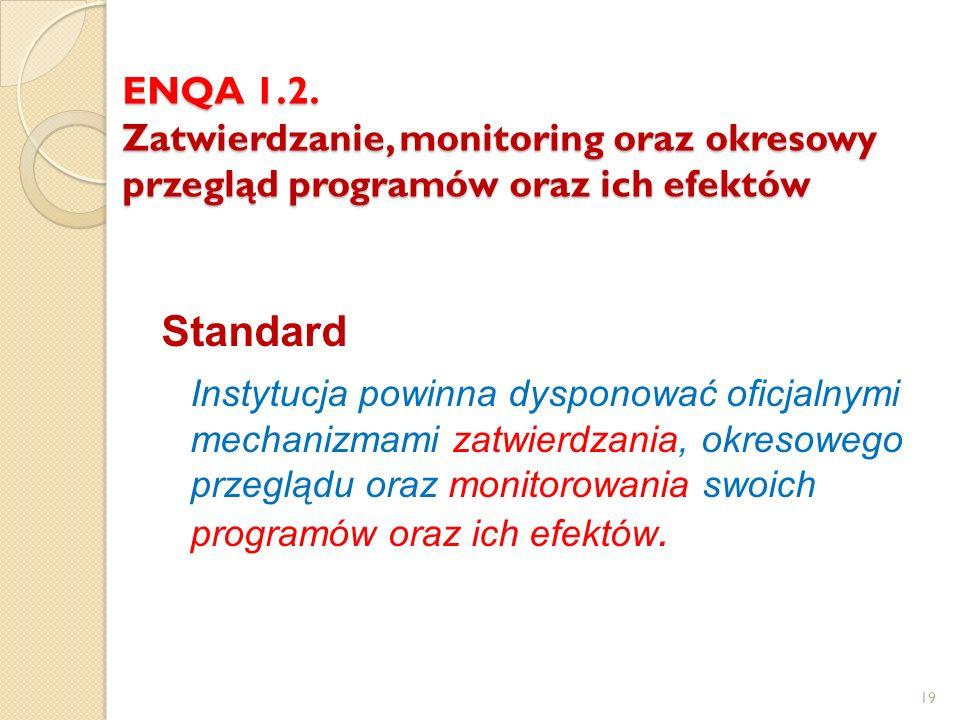 ENQA 1.2. Zatwierdzanie, monitoring oraz okresowy przegląd programów oraz ich efektów