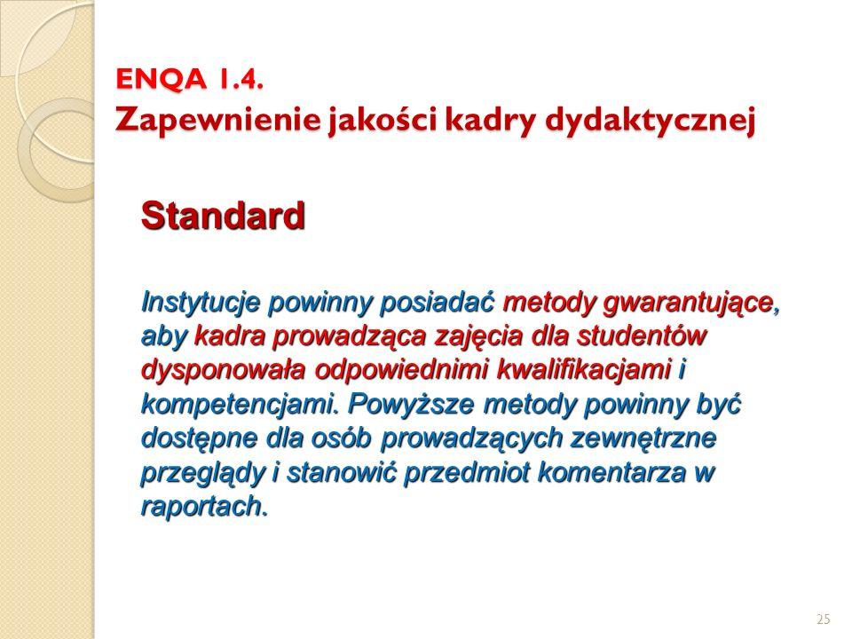 ENQA 1.4. Zapewnienie jakości kadry dydaktycznej