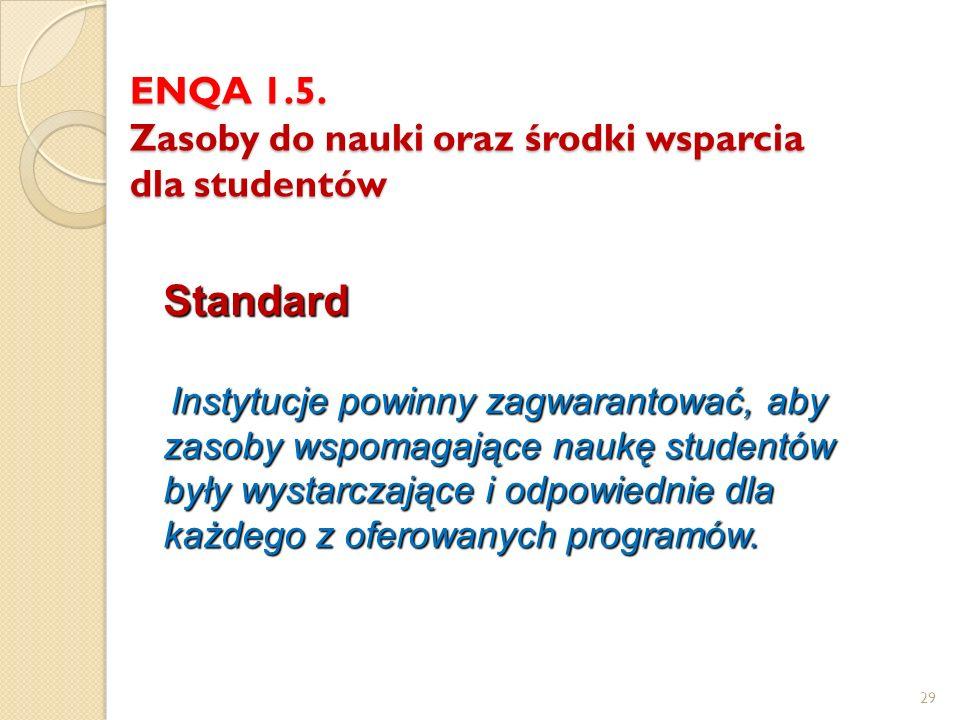 ENQA 1.5. Zasoby do nauki oraz środki wsparcia dla studentów