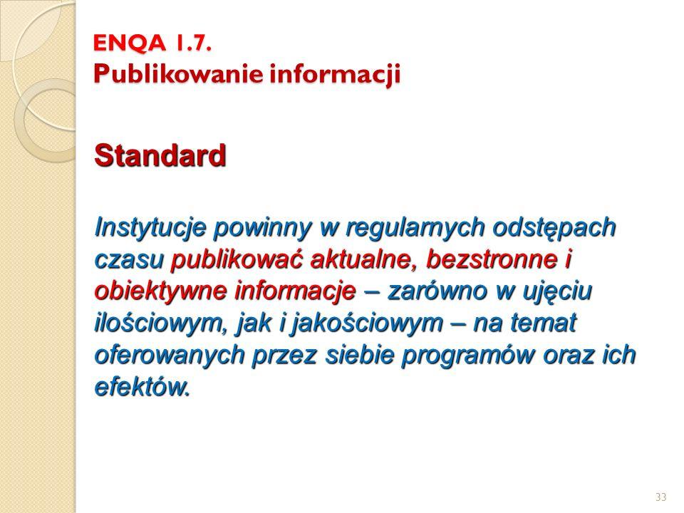 ENQA 1.7. Publikowanie informacji