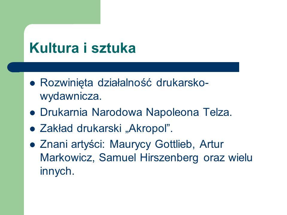 Kultura i sztuka Rozwinięta działalność drukarsko-wydawnicza.