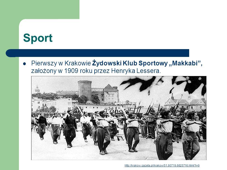 """Sport Pierwszy w Krakowie Żydowski Klub Sportowy """"Makkabi , założony w 1909 roku przez Henryka Lessera."""
