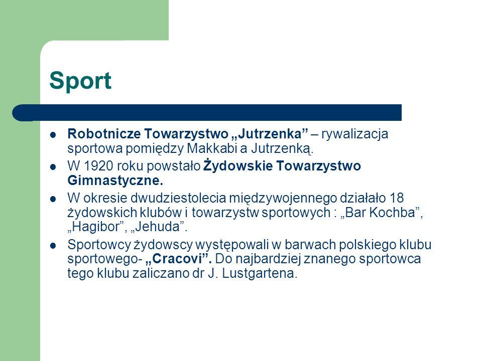 """Sport Robotnicze Towarzystwo """"Jutrzenka – rywalizacja sportowa pomiędzy Makkabi a Jutrzenką."""