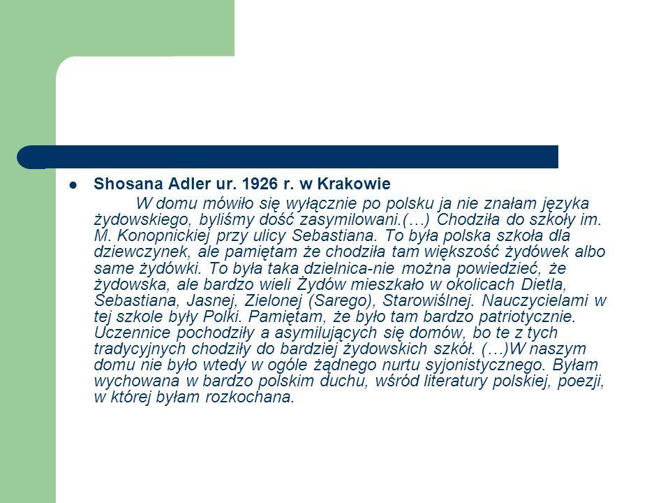 Shosana Adler ur. 1926 r. w Krakowie