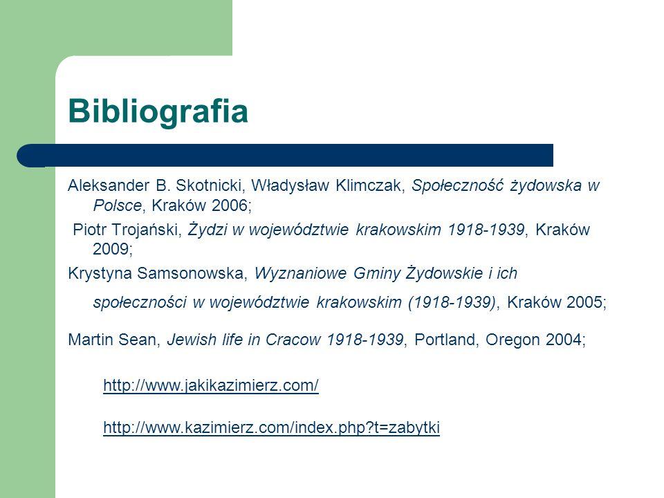Bibliografia Aleksander B. Skotnicki, Władysław Klimczak, Społeczność żydowska w Polsce, Kraków 2006;