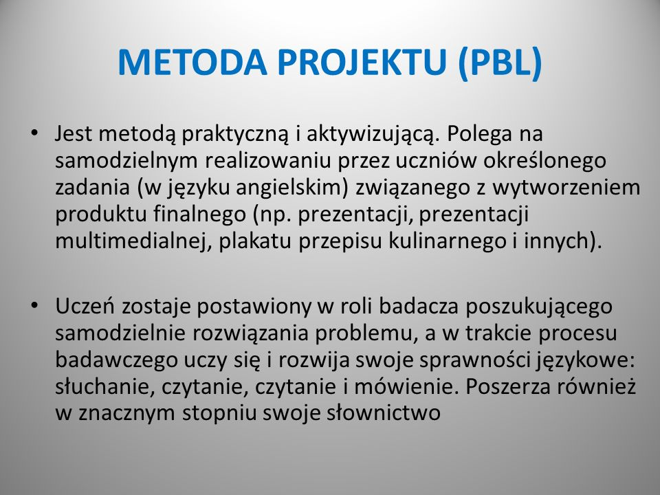 METODA PROJEKTU (PBL)