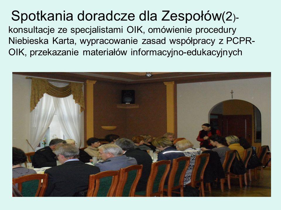 Spotkania doradcze dla Zespołów(2)- konsultacje ze specjalistami OIK, omówienie procedury Niebieska Karta, wypracowanie zasad współpracy z PCPR-OIK, przekazanie materiałów informacyjno-edukacyjnych