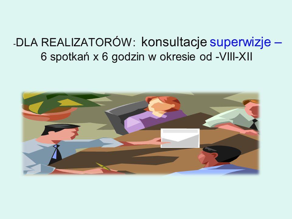 -DLA REALIZATORÓW: konsultacje superwizje – 6 spotkań x 6 godzin w okresie od -VIII-XII