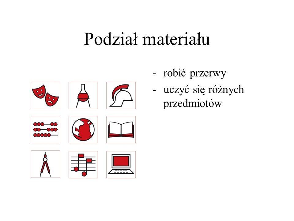 Podział materiału robić przerwy uczyć się różnych przedmiotów