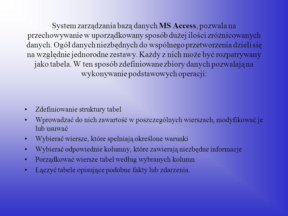 System zarządzania bazą danych MS Access, pozwala na przechowywanie w uporządkowany sposób dużej ilości zróżnicowanych danych. Ogół danych niezbędnych do wspólnego przetworzenia dzieli się na względnie jednorodne zestawy. Każdy z nich może być rozpatrywany jako tabela. W ten sposób zdefiniowane zbiory danych pozwalają na wykonywanie podstawowych operacji: