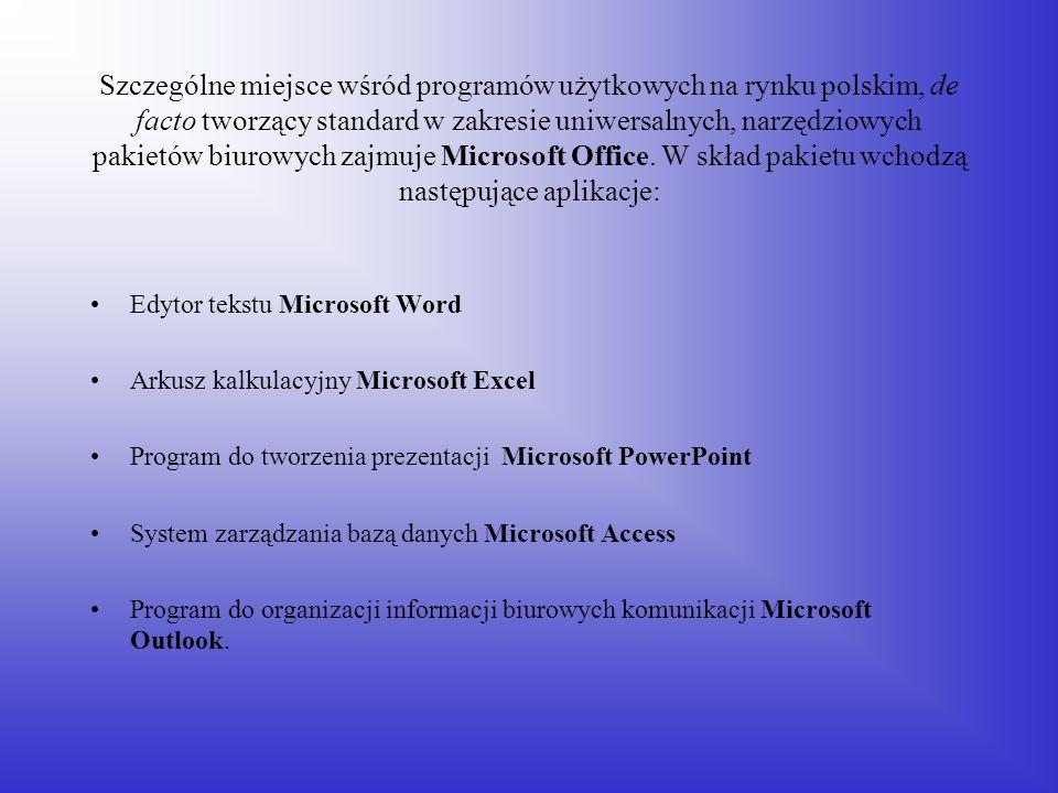 Szczególne miejsce wśród programów użytkowych na rynku polskim, de facto tworzący standard w zakresie uniwersalnych, narzędziowych pakietów biurowych zajmuje Microsoft Office. W skład pakietu wchodzą następujące aplikacje: