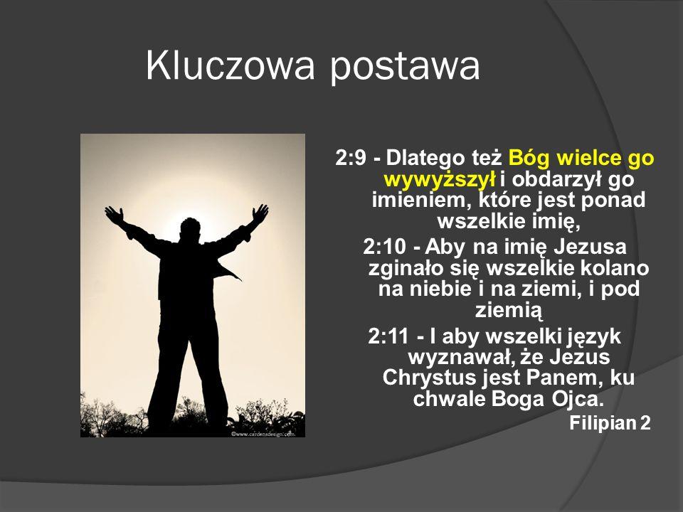 Kluczowa postawa2:9 - Dlatego też Bóg wielce go wywyższył i obdarzył go imieniem, które jest ponad wszelkie imię,