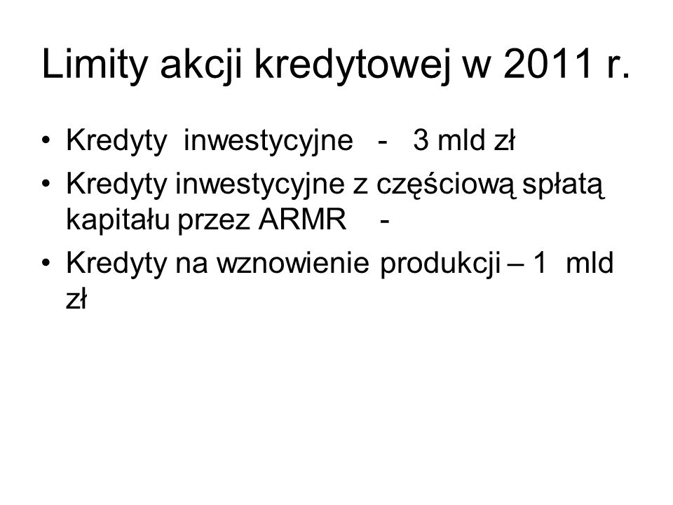 Limity akcji kredytowej w 2011 r.