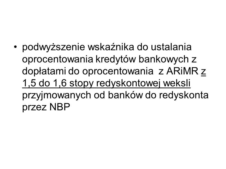 podwyższenie wskaźnika do ustalania oprocentowania kredytów bankowych z dopłatami do oprocentowania z ARiMR z 1,5 do 1,6 stopy redyskontowej weksli przyjmowanych od banków do redyskonta przez NBP