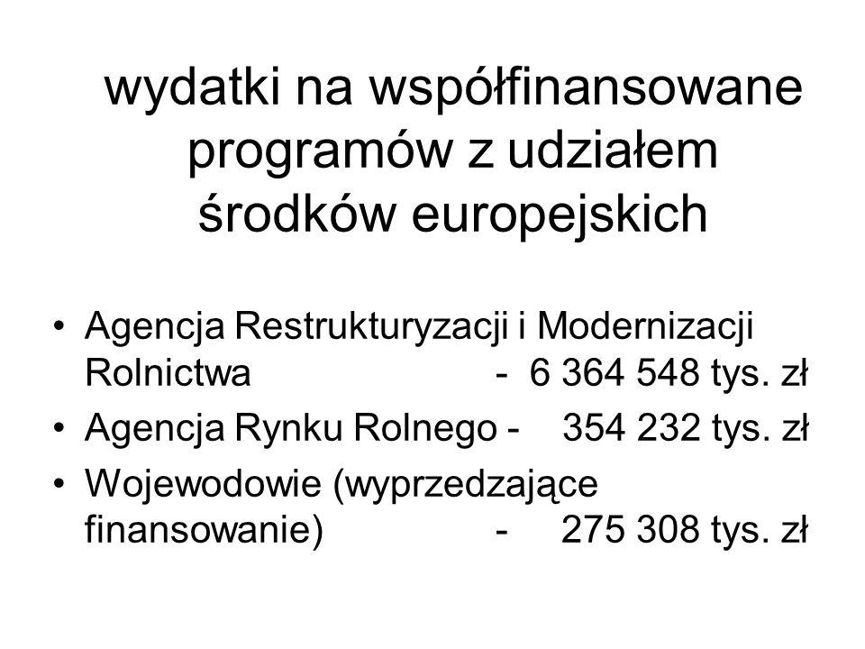wydatki na współfinansowane programów z udziałem środków europejskich