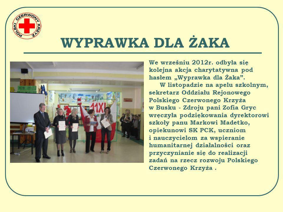 """WYPRAWKA DLA ŻAKA We wrześniu 2012r. odbyła się kolejna akcja charytatywna pod hasłem """"Wyprawka dla Żaka ."""