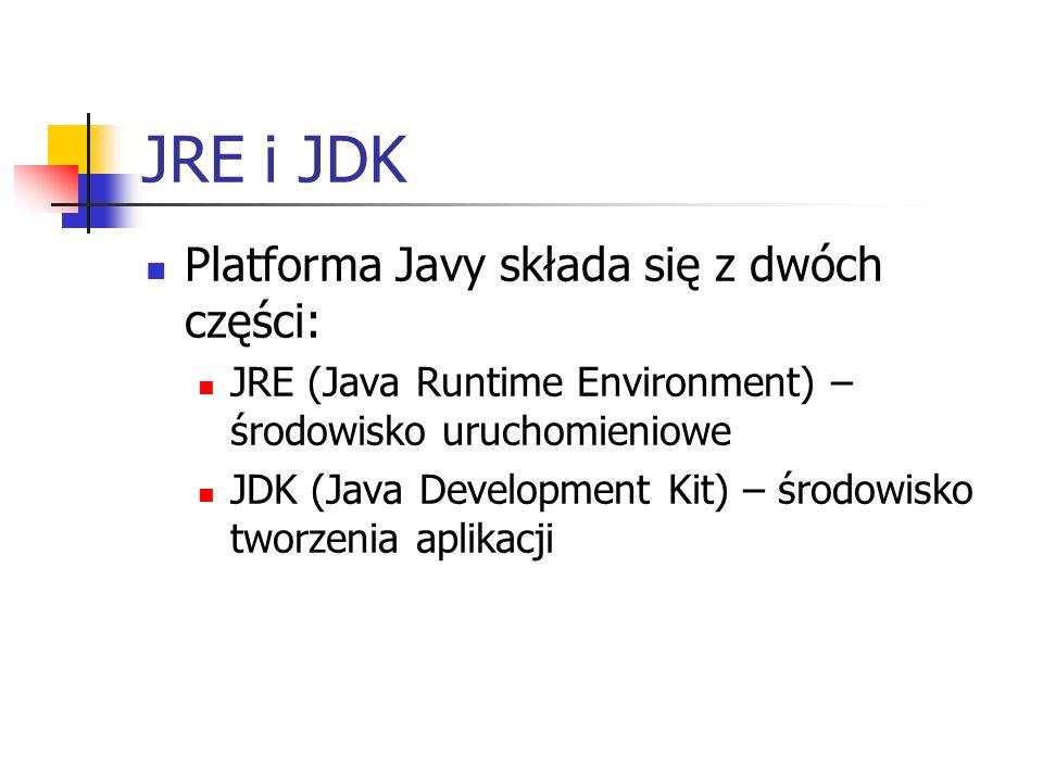 JRE i JDK Platforma Javy składa się z dwóch części: