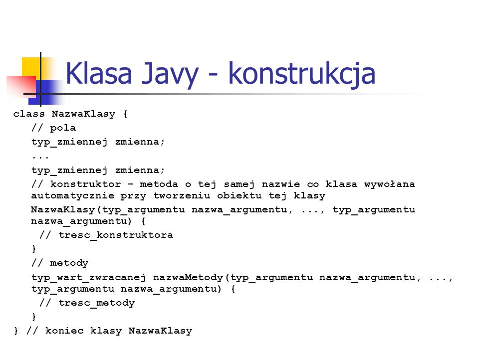 Klasa Javy - konstrukcja