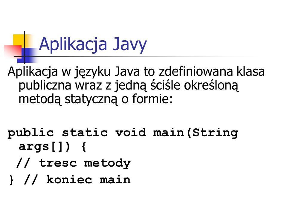 Aplikacja Javy Aplikacja w języku Java to zdefiniowana klasa publiczna wraz z jedną ściśle określoną metodą statyczną o formie: