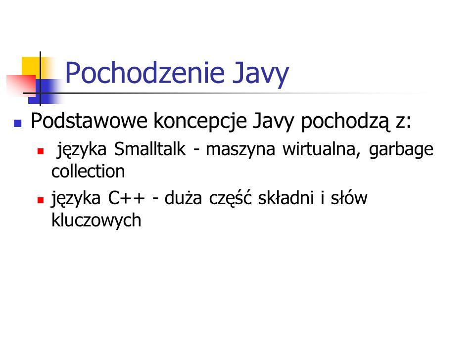 Pochodzenie Javy Podstawowe koncepcje Javy pochodzą z: