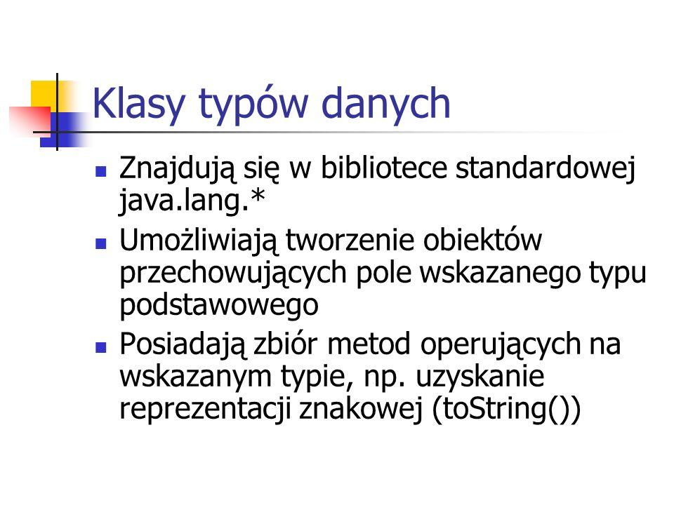 Klasy typów danych Znajdują się w bibliotece standardowej java.lang.*