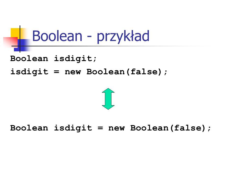 Boolean - przykład Boolean isdigit; isdigit = new Boolean(false);