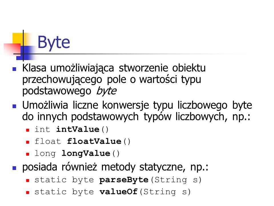 Byte Klasa umożliwiająca stworzenie obiektu przechowującego pole o wartości typu podstawowego byte.