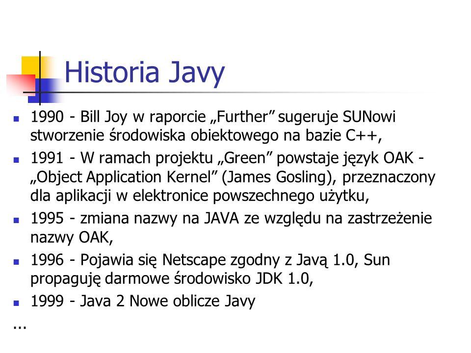 """Historia Javy 1990 - Bill Joy w raporcie """"Further sugeruje SUNowi stworzenie środowiska obiektowego na bazie C++,"""