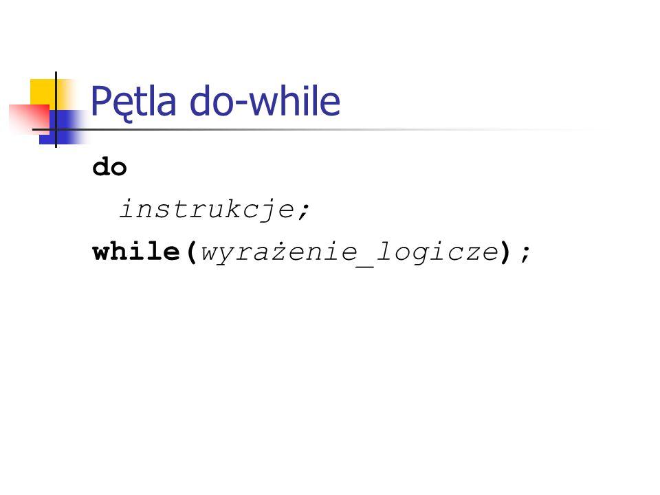 Pętla do-while do instrukcje; while(wyrażenie_logicze);