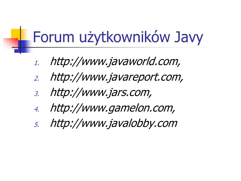 Forum użytkowników Javy