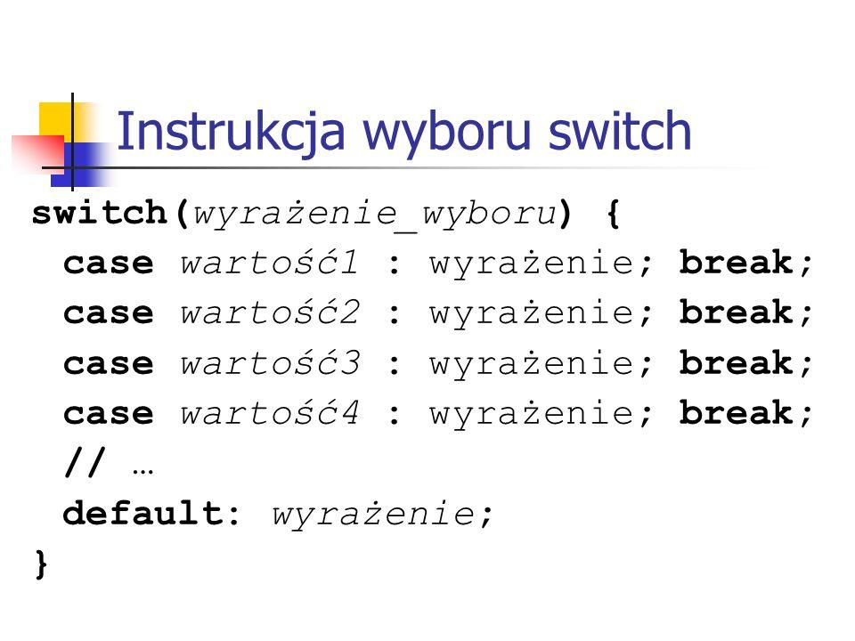 Instrukcja wyboru switch