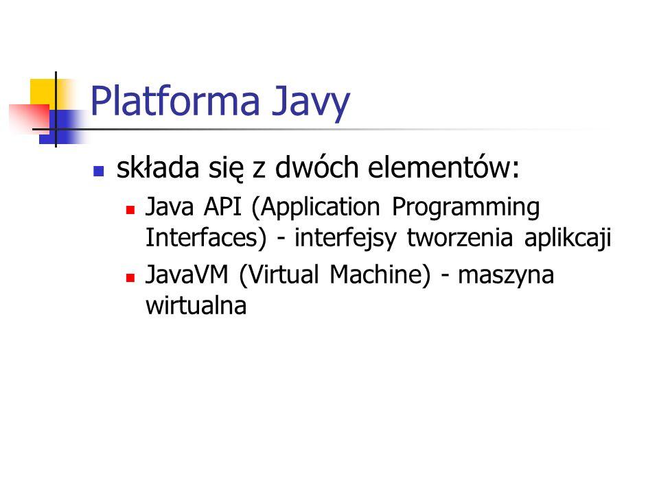 Platforma Javy składa się z dwóch elementów: