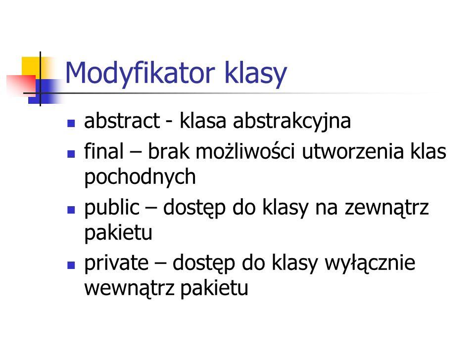 Modyfikator klasy abstract - klasa abstrakcyjna