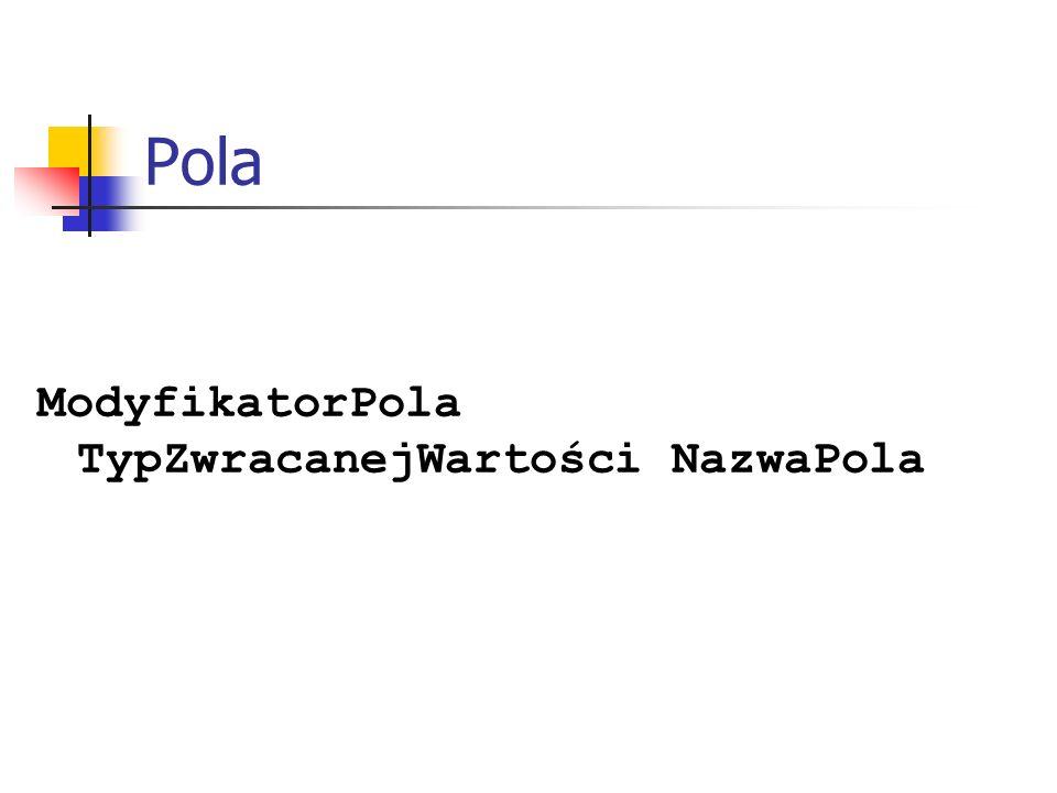 Pola ModyfikatorPola TypZwracanejWartości NazwaPola