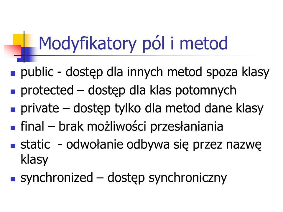 Modyfikatory pól i metod
